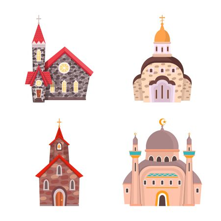 Vector illustration of religion and building symbol. Collection of religion and faith stock symbol for web. Imagens - 128804034