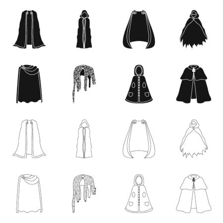 Isolated object of material and clothing icon. Set of material and garment stock vector illustration. Ilustração