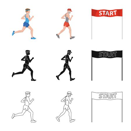 Isolated object of sport and winner symbol. Set of sport and fitness stock symbol for web.