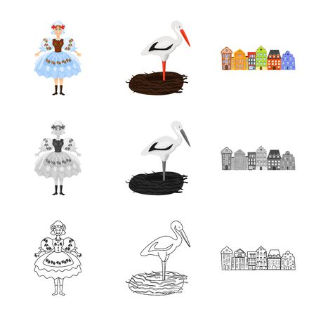 Vector illustration of traditional and tour icon. Collection of traditional and landmarks stock vector illustration. Illusztráció