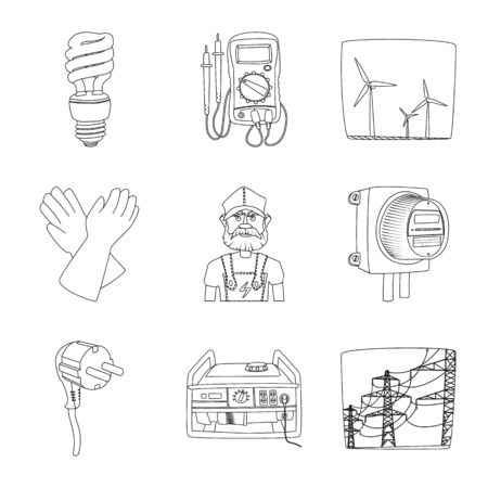 Isolated object of electricity and electric symbol. Set of electricity and energy vector icon for stock.