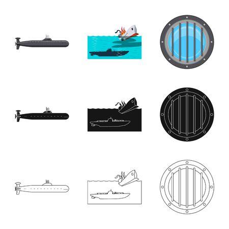 Isoliertes Kriegs- und Schiffssymbol. Satz von Kriegs- und Flottenvektorsymbolen für Aktien. Vektorgrafik