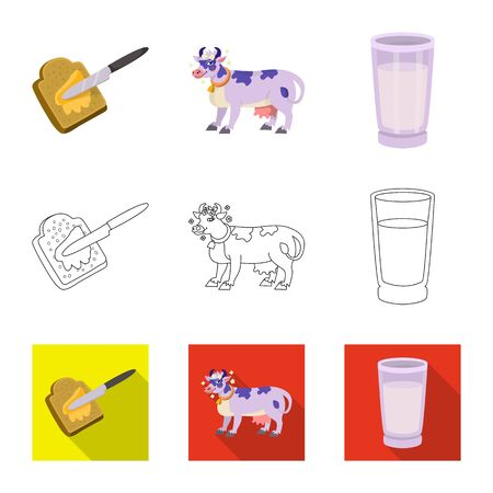 Isolated object of creamy and product sign. Collection of creamy and farm stock vector illustration.