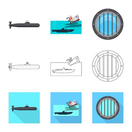 Vector design of war and ship symbol. Collection of war and fleet vector icon for stock. Иллюстрация