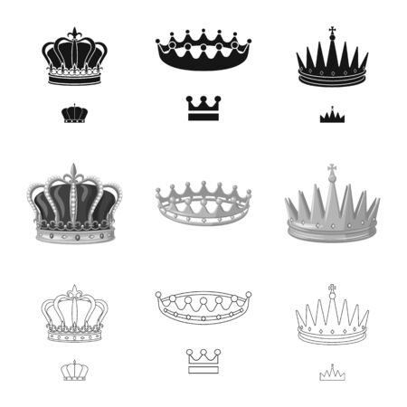 Vector design of medieval and nobility symbol. Set of medieval and monarchy vector icon for stock.