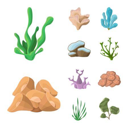 Vector design of underwater and aquarium logo. Collection of underwater and ocean vector icon for stock.