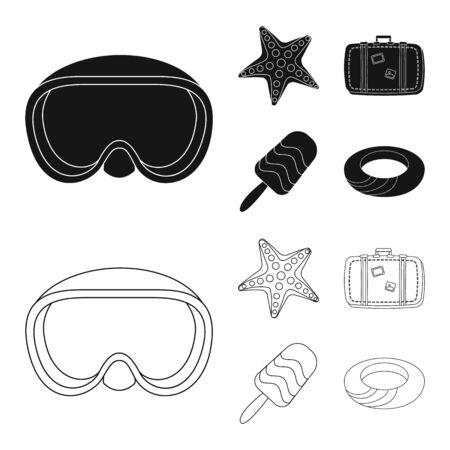 Vector illustration of equipment and swimming  . Collection of equipment and activity stock vector illustration.