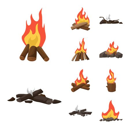 Vector illustration of flame and fire  . Collection of flame and camp stock vector illustration. Illusztráció