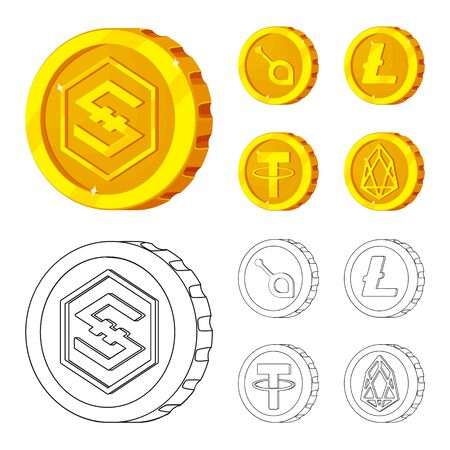 Vector design of cryptocurrency and coin sign. Set of cryptocurrency and crypto stock symbol for web. Ilustracja