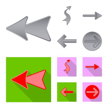 Isolated object of element and arrow icon. Set of element and direction stock symbol for web.