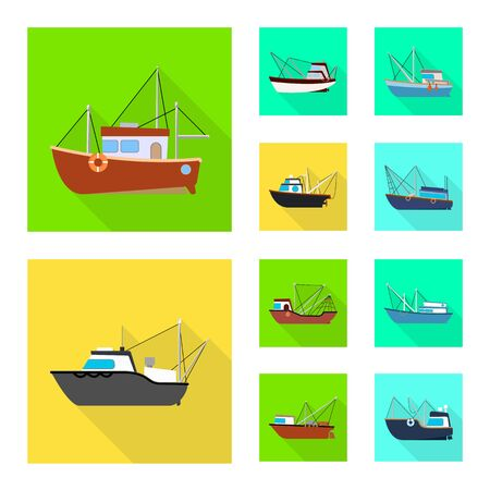 Vector illustration of transport and industrial icon. Collection of transport and yacht stock vector illustration. Ilustração