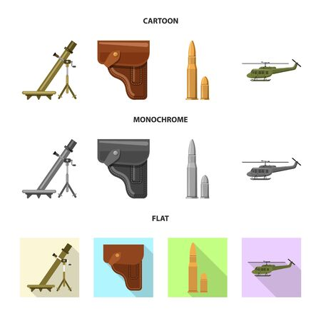 Isolated object of weapon and gun icon. Set of weapon and army vector icon for stock.  イラスト・ベクター素材