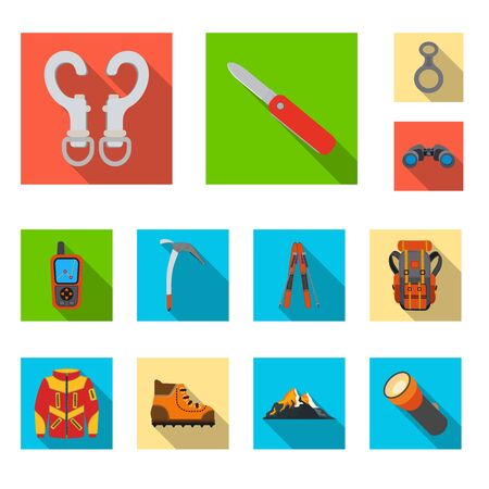 Isolated object of mountaineering and peak symbol. Collection of mountaineering and camp stock symbol for web.