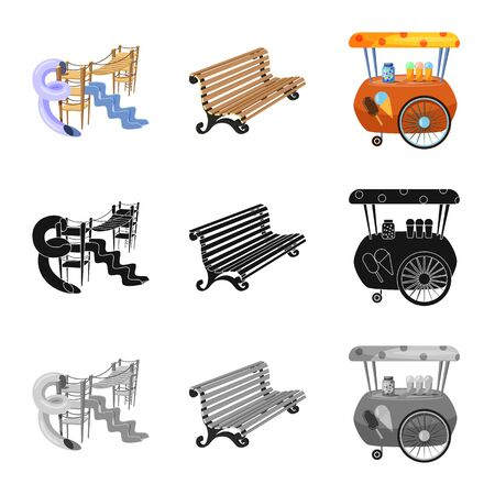 Isolated object of urban and street symbol. Set of urban and relaxation stock vector illustration.