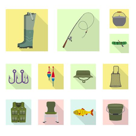 Vector illustration of fish and fishing . Set of fish and equipment stock symbol for web.