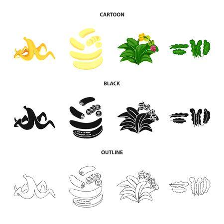 Vector design of natural and vegetarian logo. Set of natural and eating stock vector illustration.