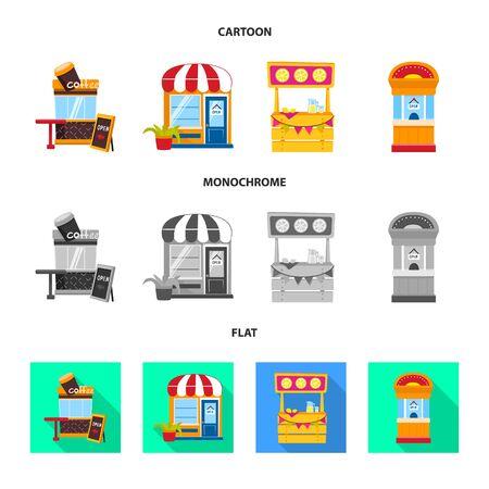Disegno vettoriale di divertimento e negozio. Raccolta di divertimento e icona di vettore urbano per stock. Vettoriali