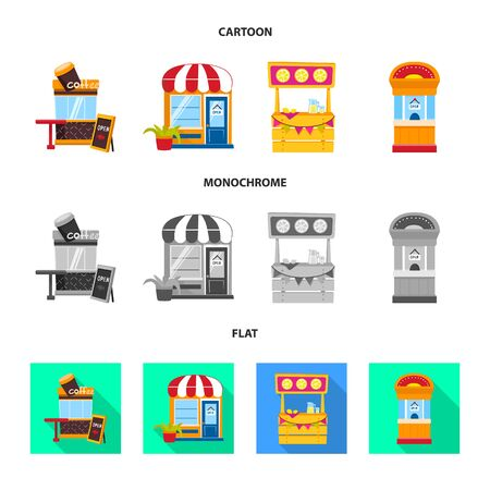Vector design of amusement and store . Collection of amusement and urban vector icon for stock. 矢量图像