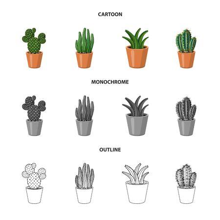 Vector design of cactus and pot symbol. Collection of cactus and cacti stock vector illustration. Ilustração