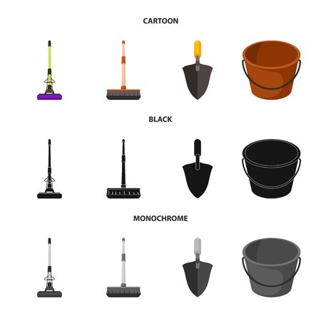 Vector illustration of cleanup and household symbol. Collection of cleanup and washing stock vector illustration.