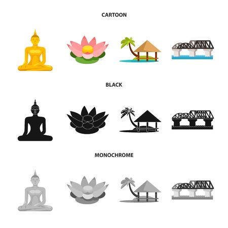 Isolated object of journey and exotic . Collection of journey and national vector icon for stock.