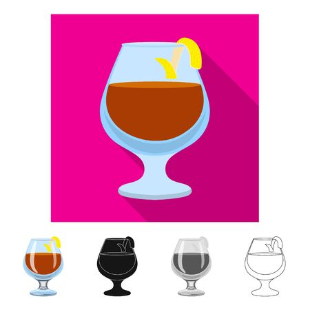 Vector illustration of glass and cognac . Collection of glass and ice stock symbol for web.