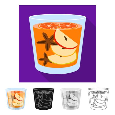 Vector design of glass and cinnamon sign. Collection of glass and grapefruit vector icon for stock.