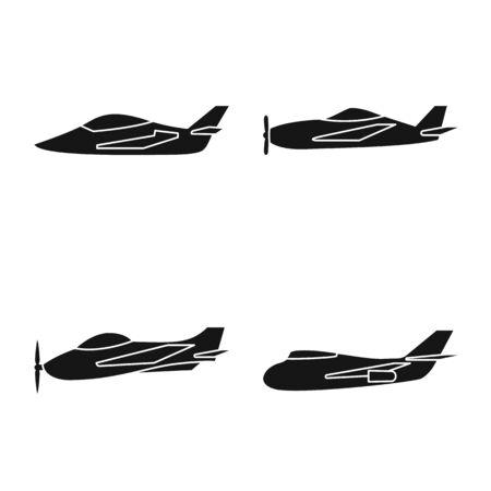 Vector design of transport and navigation symbol. Set of transport and aircraft stock vector illustration. Ilustração