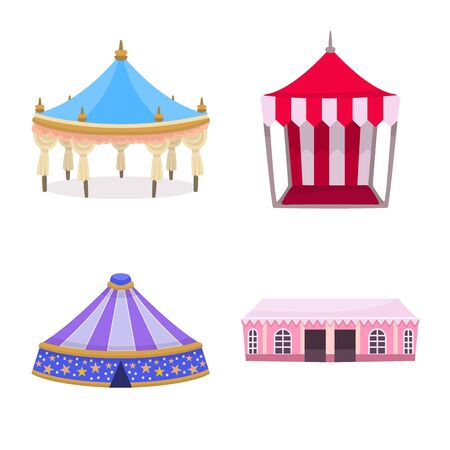 Vector illustration of awning and shelter . Set of awning and canopy vector icon for stock.
