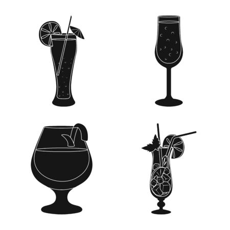 Isolated object of club and ingredient sign. Collection of club and drink vector icon for stock.