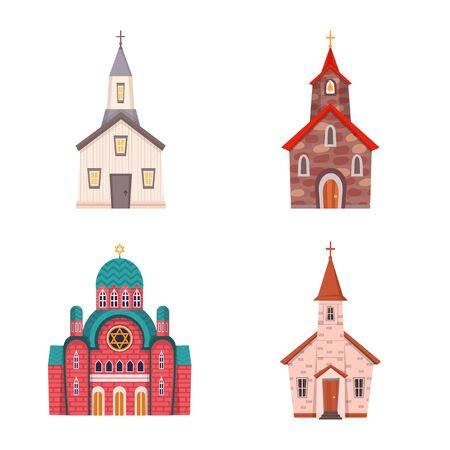 Vector design of religion and building icon. Set of religion and faith stock symbol for web.