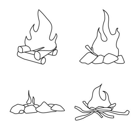 Vector illustration of hot and camp symbol. Collection of hot and outdoor vector icon for stock. Ilustração