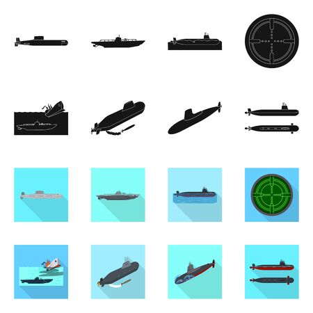 Vector illustration of war and ship symbol. Collection of war and fleet stock vector illustration.