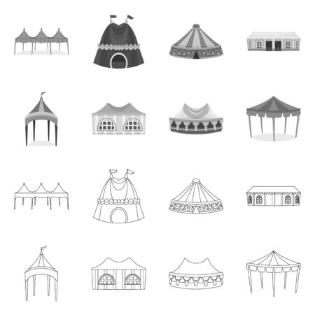 Vector illustration of roof and folding symbol. Collection of roof and architecture stock vector illustration. Ilustrace