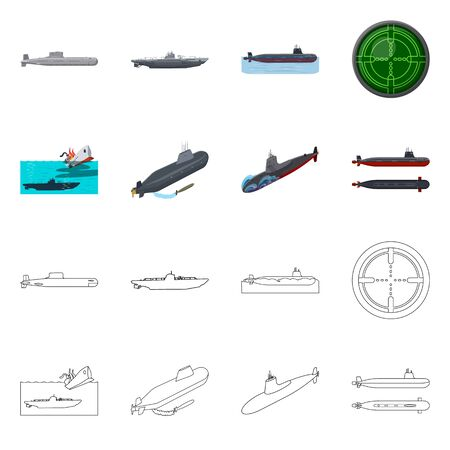 Isolated object of war and ship . Set of war and fleet vector icon for stock. Иллюстрация