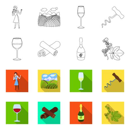 Isolated object of farm and vineyard . Collection of farm and product stock vector illustration.