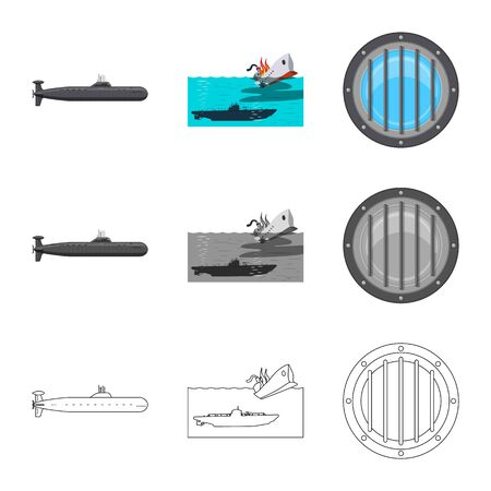 Vector illustration of war and ship . Collection of war and fleet stock vector illustration.