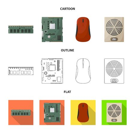 Vector design of accessories and device icon. Set of accessories and electronics stock vector illustration.