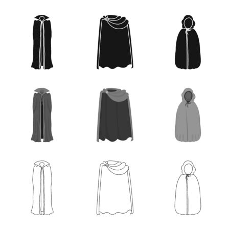 Isolated object of material and clothing . Collection of material and garment stock symbol for web.