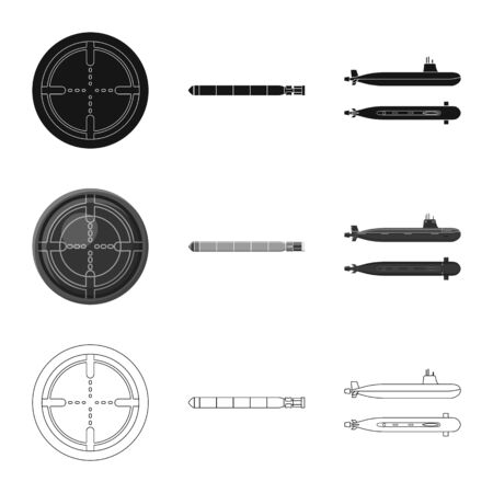 Vector design of war and ship symbol. Collection of war and fleet stock symbol for web. Ilustração