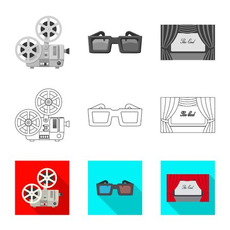 Vector design of television and filming  . Collection of television and viewing stock vector illustration.