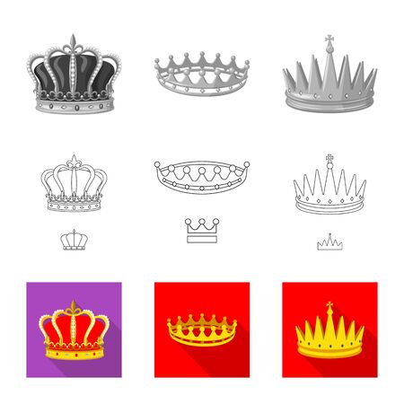 Vector illustration of medieval and nobility  . Set of medieval and monarchy stock vector illustration.