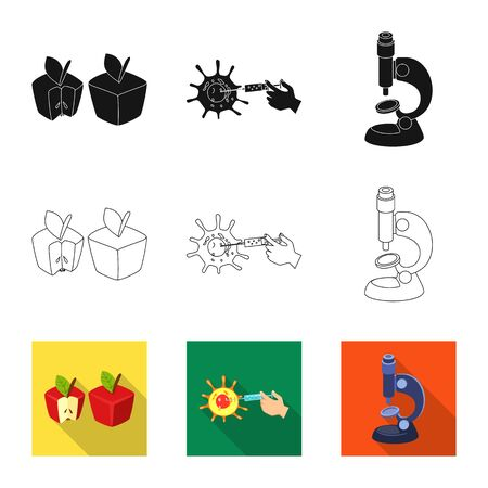 Isolated object of test and synthetic icon. Set of test and laboratory vector icon for stock. Ilustração