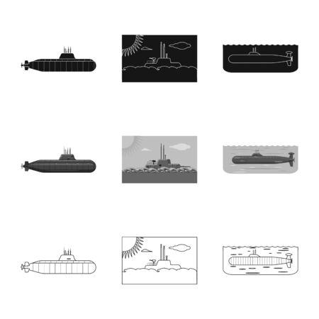 Vector design of war and ship symbol. Collection of war and fleet stock vector illustration. Ilustração