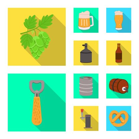 Vector illustration of brewery and brewing . Set of brewery and ingredient vector icon for stock.