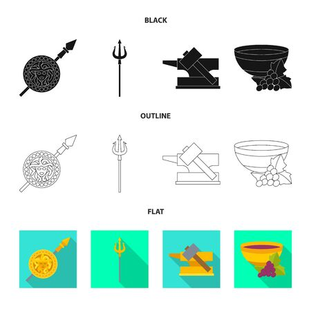 Isolated object of deity and antique symbol. Collection of deity and myths stock symbol for web. Illustration