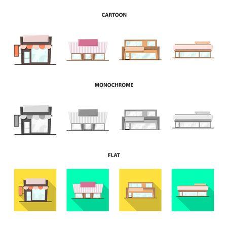 Vector illustration of boutique and construction sign. Set of boutique and cityscape vector icon for stock. Ilustração