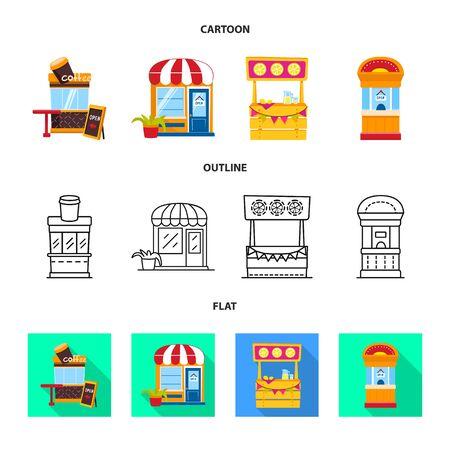 Vector design of amusement and store symbol. Collection of amusement and urban stock symbol for web.