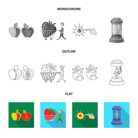 Isolated object of test and synthetic symbol. Set of test and laboratory vector icon for stock. Ilustração