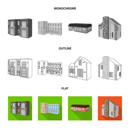Vector illustration of facade and housing sign. Set of facade and infrastructure stock vector illustration. Ilustração